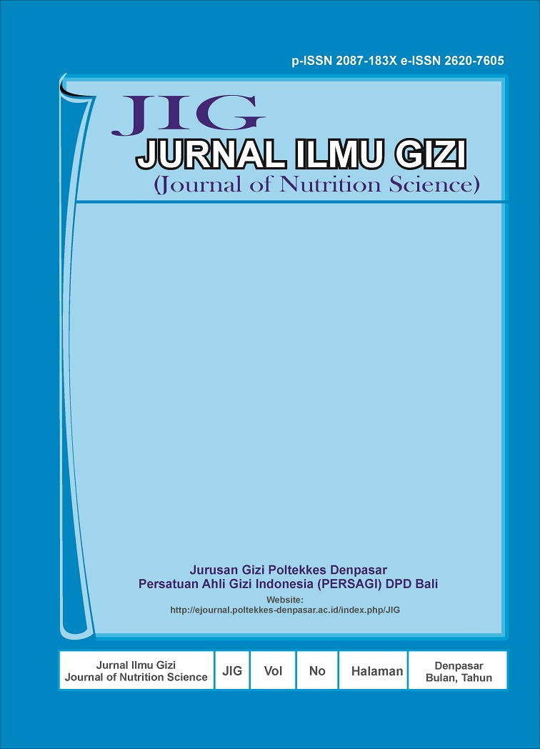 Jurnal Ilmu Gizi Journal Of Nutrition Science